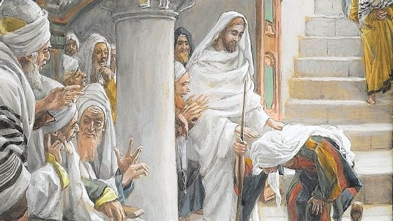 DAILY MASS, GOSPEL AND COMMENTARY. JESUS CURES A WOMAN ON A SABBATH (Lk 13:10–17).