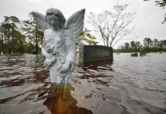 A statue of an angel is partially submerged by floodwaters Sept. 16 in the cemetery of a church where residents took shelter in Leland, N.C., and later evacuated following Hurricane Florence. The storm, now a tropical depression, is poised to affect more than 10 million the week of Sept. 17. (CNS photo/Jonathan Drake, Reuters)