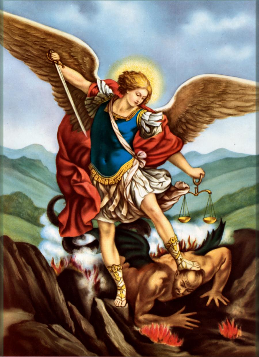 המלאך מיכאל ורגלו על השטן המובס.