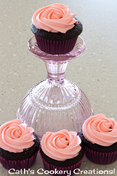 Chocolate Cupcakes with Rose Buttercream from Cath's Cookery Creations! @CathsCookery