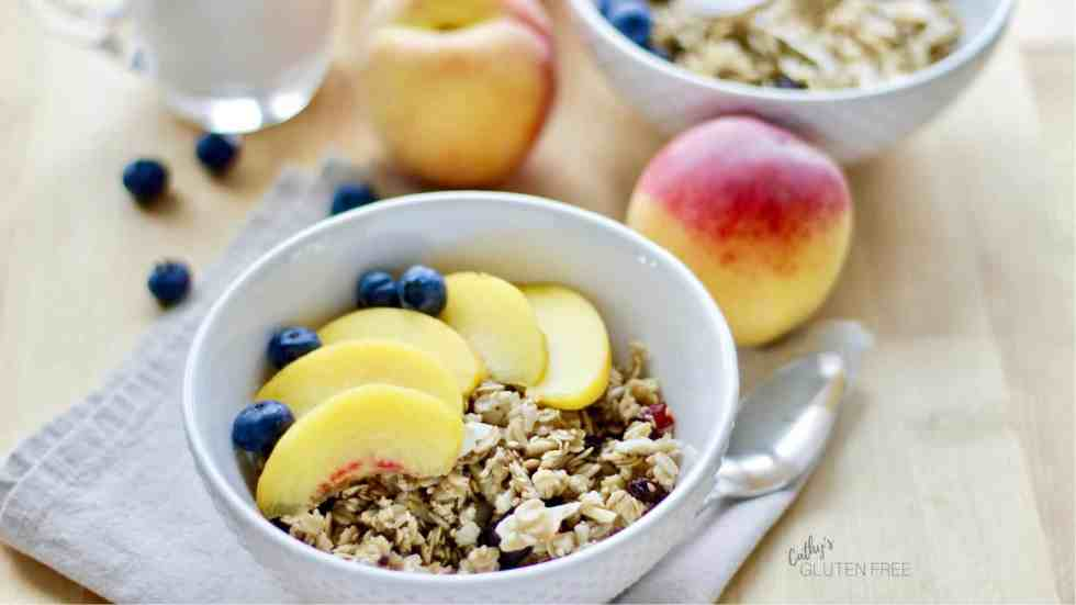 Gluten Free Granola with Sliced Peaches and Blueberries CathysGlutenFree.com