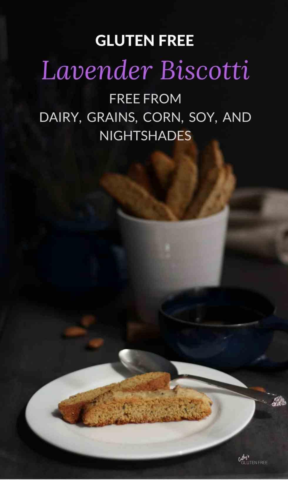 Lavender Biscotti | Free from dairy, grains, soy, nightshades, corn | CathysGlutenFree.com