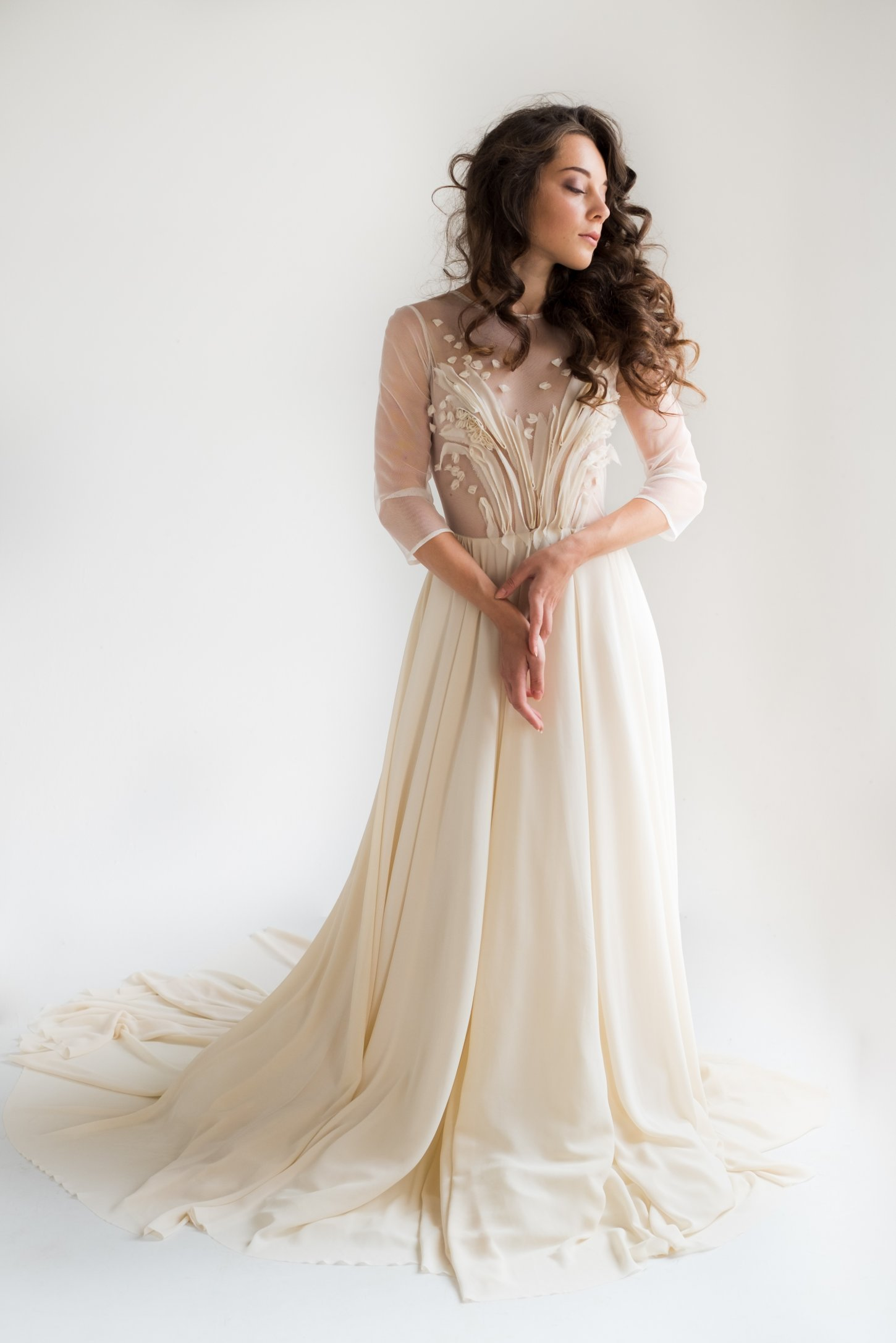 sheer wedding dress with