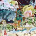 """Rude Guests at the Divine Matinee Rude Guests at the Divine Matinee Rude Guests at the Divine Matinee has a subtitle: """"Greed Exploitation and Perversion with Innocence Unsupervised"""". It was painted in 1999 following my frustration and observations in trying to improve school safety following the school shootings in the new, and the World Trade Organization incidents in Seattle where the media painted a very inaccurate picture. The painting shows three characters (Greed, an ugly man with a cranial motem, Exploitation, a Camel with an eyepatch, and Perversion, an alligator in fishnet stockings. They are cutting up a baked Alaska Earth Cake upon a cage table where helpless and rare animals are imprisoned. In the same room, where evidence of pollution and misuse of natural resources is apparent, three impish children watch a pornographic cartoon. Separated from this indoor scene, one child looks out a window to see the natural world looking beautiful, faraway and vulnerable. This painting speaks directly to overuse and misuse of our planet by big business and the wasteland created by excessive consumerism. It was created as an illustrative reminder that we should appreciate the beauty and gifts of our planet and look closer at how excessive lifestyles are having a negative impact everywhere in the world."""