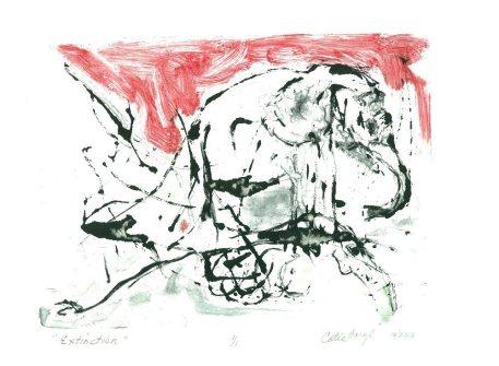 Extinction, monotype print by activist artist Catie Faryl