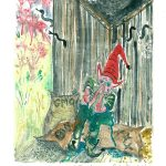 "GMO in the Woodshed, Monotype Print from the ""Don't Shop with G-Nome"" series by artist Catie Faryl, 2013."