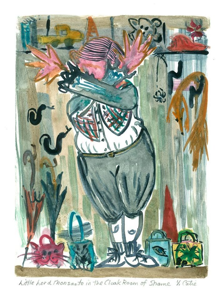 """Little Lord Monsanto in the Cloak Room of Shame, Monotype Print from the """"Don't Shop with G-Nome"""" series by artist Catie Faryl, 2013."""
