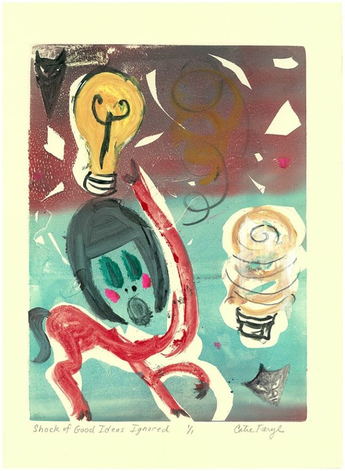 """The Shock of Good Ideas Ignored, Monotype Print from the """"The Bridge to 2020"""" series by artist Catie Faryl, 2013."""