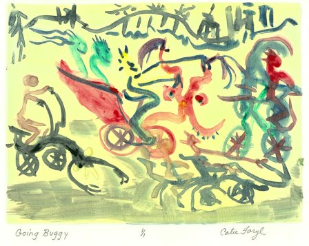 """Going Buggy, Monotype Prin from the 2011 collection """"the Upward Spiral"""", of the """"Digging Out From The Dirty Decade"""" exhibition series by artist Catie Faryl."""