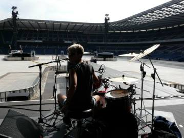 Sound check! Supporting Foo Fighters, Murrayfield Stadium, Edinburgh
