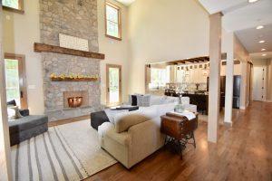 wooden post living room remodel