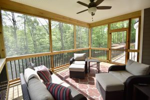 custom screened in porch with wood detail