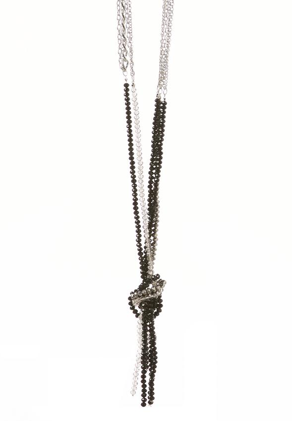 Knotted Bead Tassel Necklace Necklaces Cato Fashions
