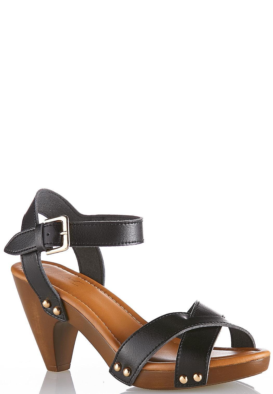 crossband cone heel sandals