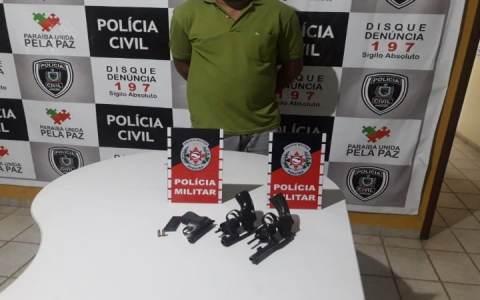 policia militar e civil apreendem tres armas de fogo durante operacao cidade segura em bom sucesso pb