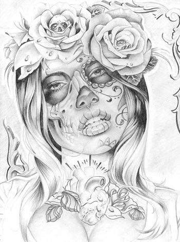 20 Pin Up Tattoos Day Of The Dead Girl Outlines Ideas And Designs