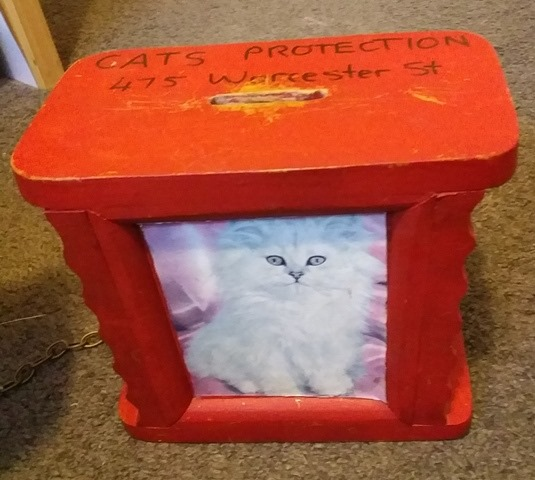 Small wooden box with a coin slot in the top. There is a photo of a kitten on the front.