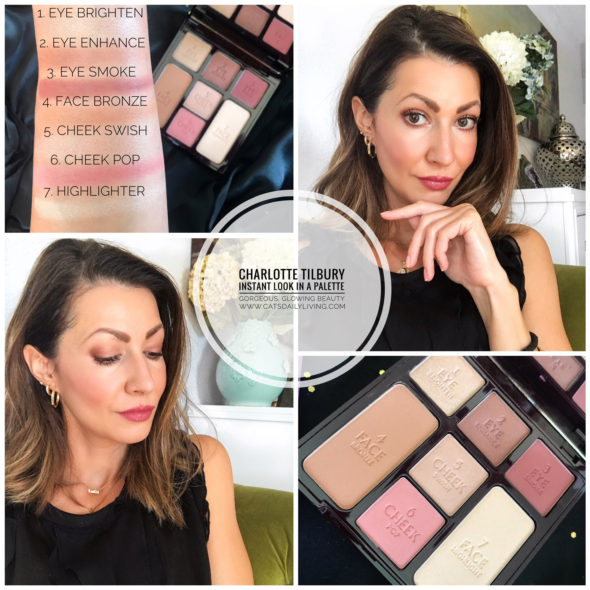 Charlotte Tilbury Instant Look In A Palette Gorgeous Glowing Palette Review And Swatches Cat S Daily Living