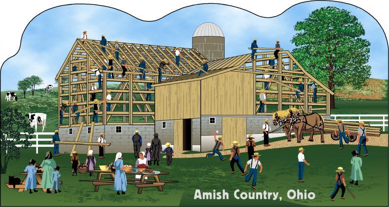 amish barn raising scene