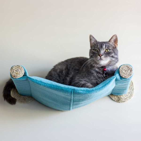 Cat Hammock - Wall Mounted Bed Teal Catsplay