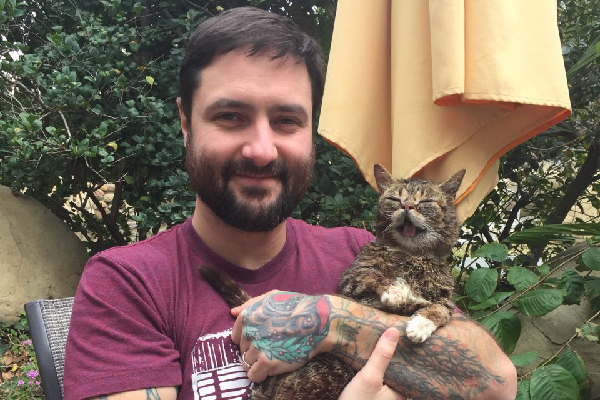 Lil Bub and Mike.