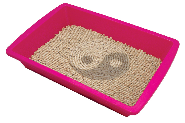 A litter box with ying yang design.