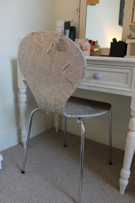 update a chair with newspaper after photo