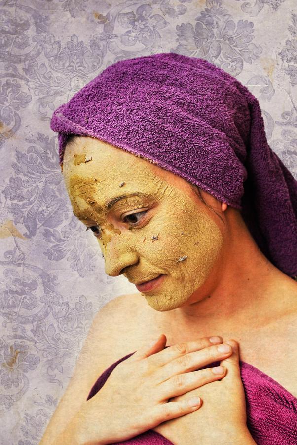 Heilerdemaske Anwednung Lavendel Gesicht Haut
