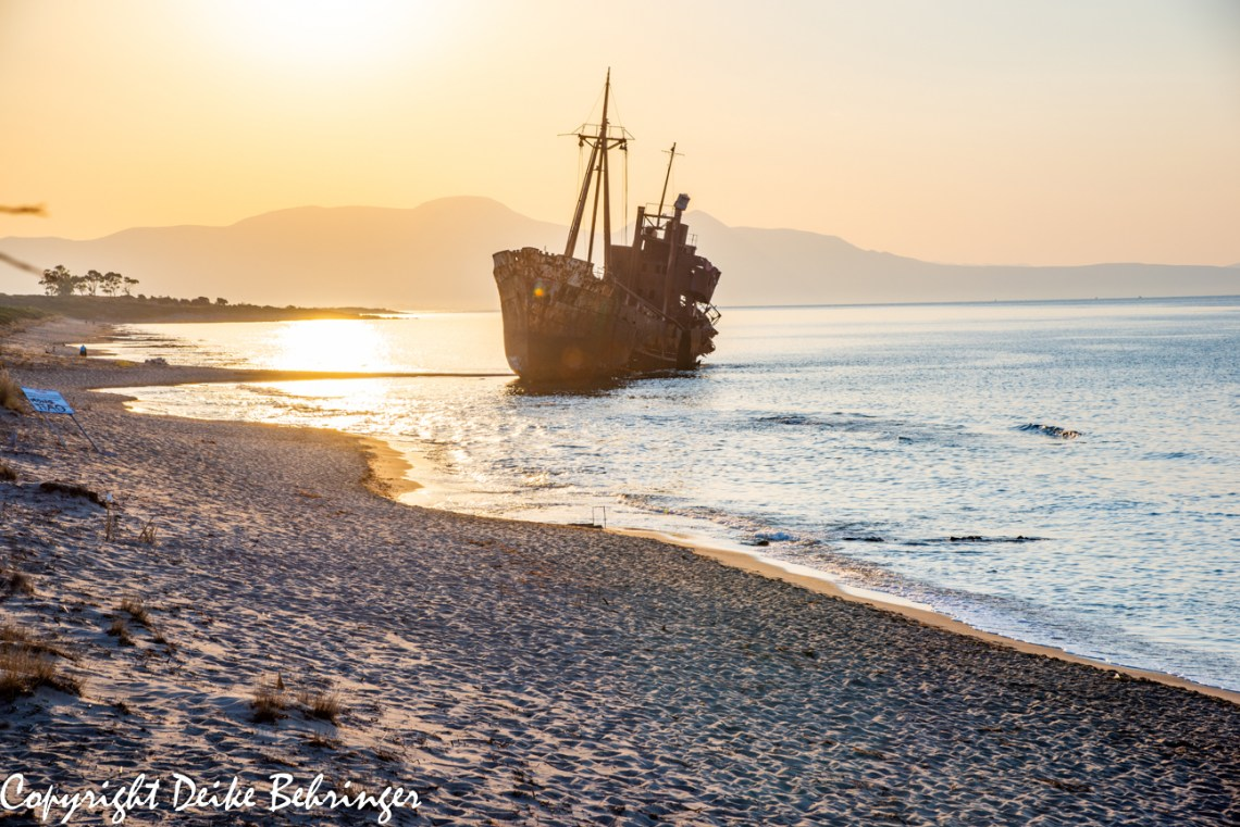 Shipwreck in sunset