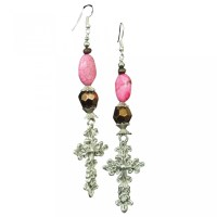 Pink Cross Earrings - Cattle Kate