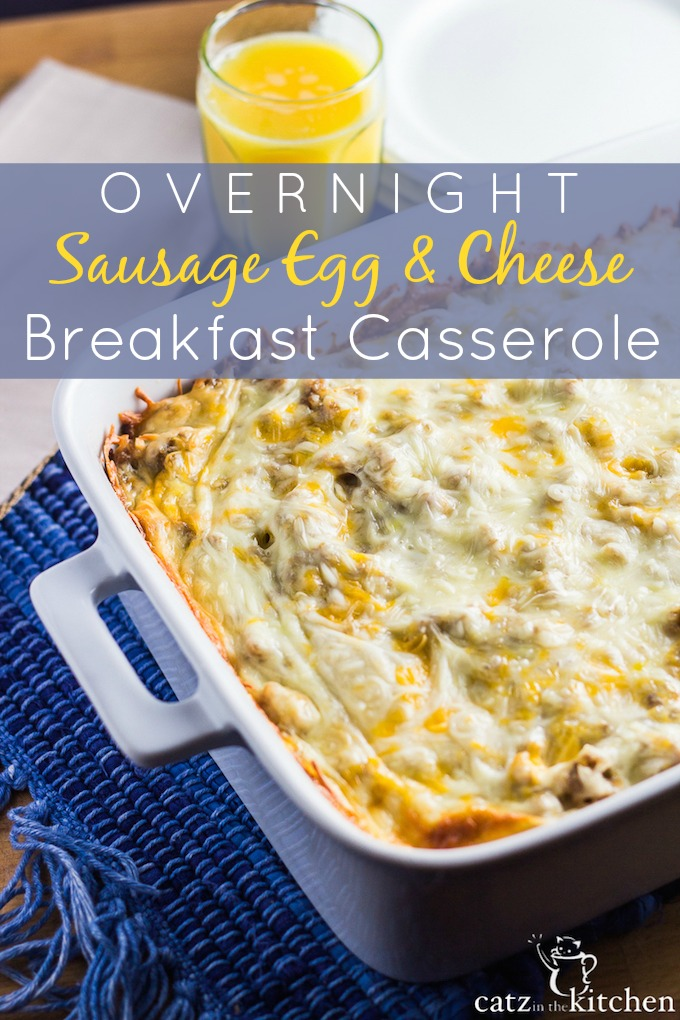 This overnight sausage, egg, and cheese breakfast casserole recipe is incredibly simple to prepare, and so convenient when you don't have time to cook in the morning!