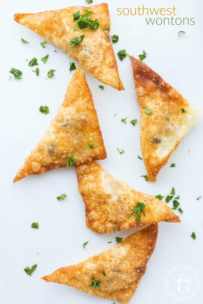 Crunchy, cheesy, and insanely craveable, these southwest wontons are the ultimate appetizer - grab your wontons wrappers and get frying!
