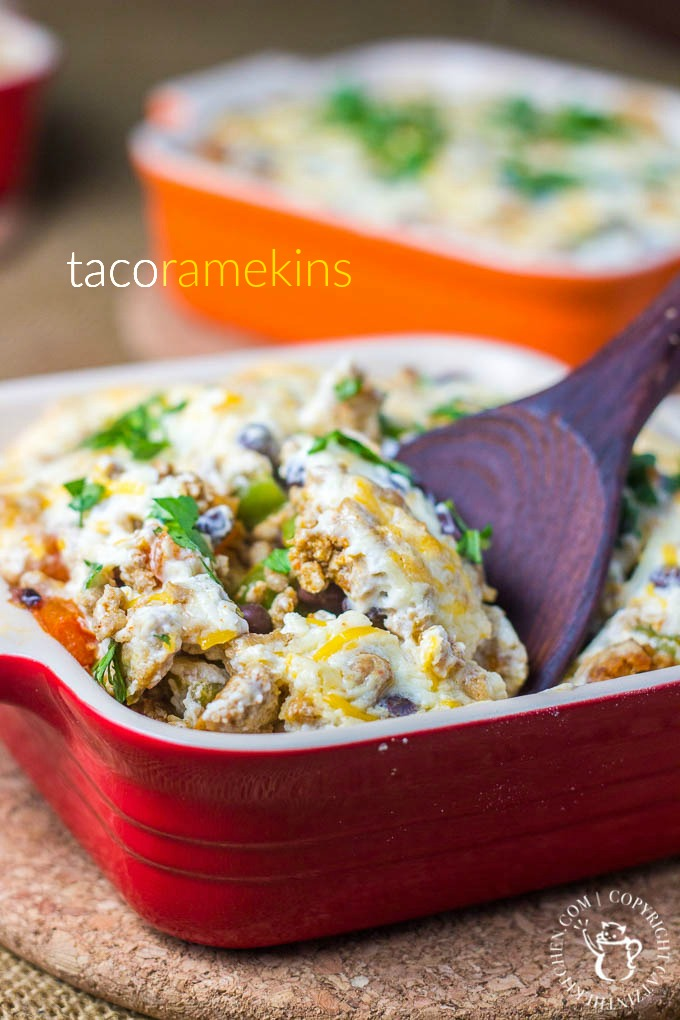 This yummy recipe for Taco Ramekins is easy, flavorful, kid-friendly, & ready in a little over 30 min! Plus, the ramekins make for fun, individual servings!