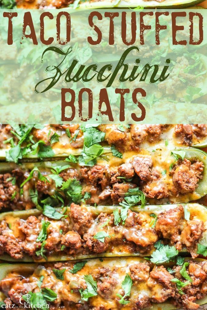 Taco Stuffed Zucchini Boats | Catz in the Kitchen | catzinthekitchen.com #zucchini