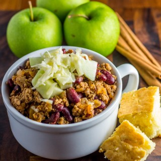 This warm, comforting bowl of Chipotle Turkey Chili is a perennial family favorite in our home! Apples & cheddar really top it off...literally!
