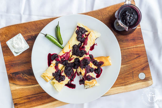This recipe is a serious melding of savory and sweet, where serrrano chiles meet Oregon raspberries! Try these Savory Black Raspberry Goat Cheese Crêpes!