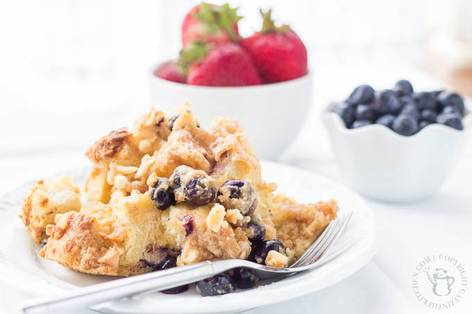 Overnight Blueberry French Toast is a recipe that is simple and indulgent. When you make it the day before, the morning meal is tasty and effortless!