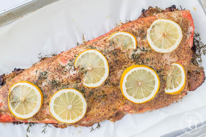 Lucky enough to find some beautiful fresh salmon on sale? This roasted glazed honey mustard salmon an easy, extremely tasty way to bake it up!