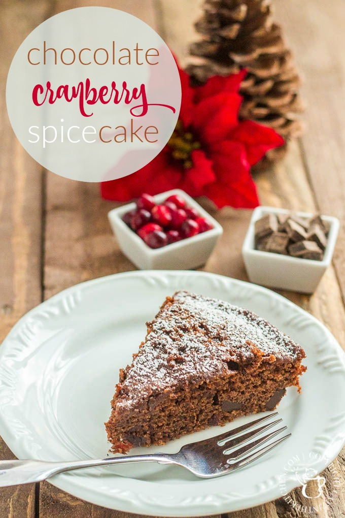 It's the holidays, and I don't know about you, but I don't have time for complicated. This chocolate cranberry spice cake is easy, so yummy, and festive!