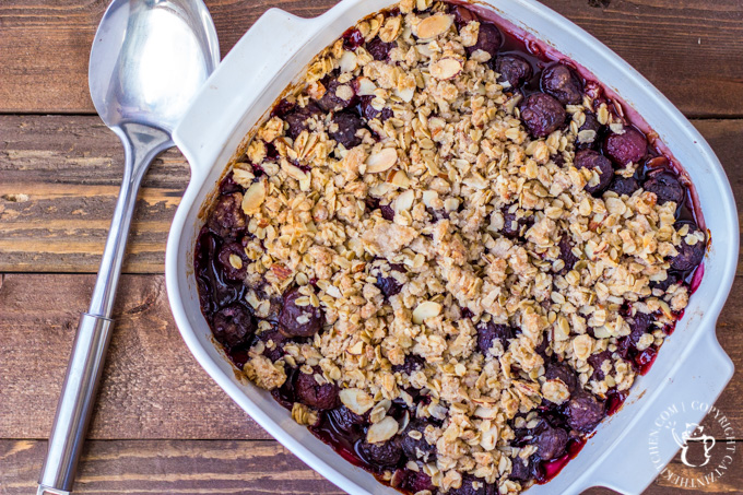 Cherries are in season, and this recipe for cherry vanilla crisp is an especially yummy way to celebrate that! It's perfect paired with a bit of ice cream.