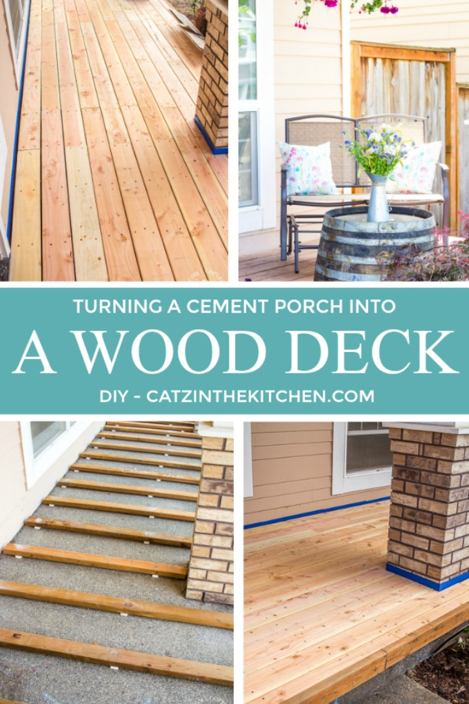 Diy turning a cement porch into wood deck catz in the