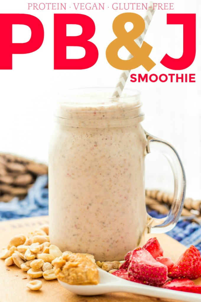 The next time you're craving a peanut butter and jelly sandwich, try making this protein PB&J smoothie instead! It's absolutely delicious and super healthy!