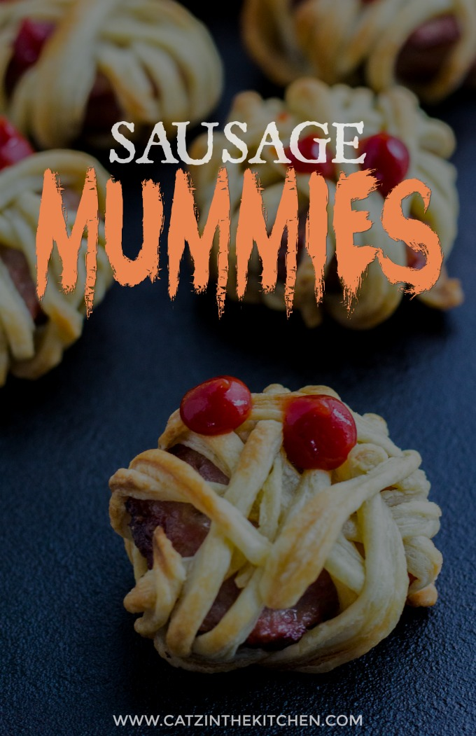 These silly little undead Halloween treats will delight the young people in your home...and the adults, too! Who doesn't want to munch on sausage mummies? #Halloween