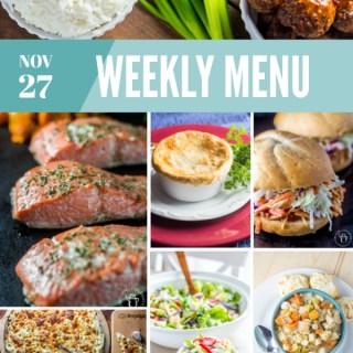 Weekly Menu for the Week of Nov 27th