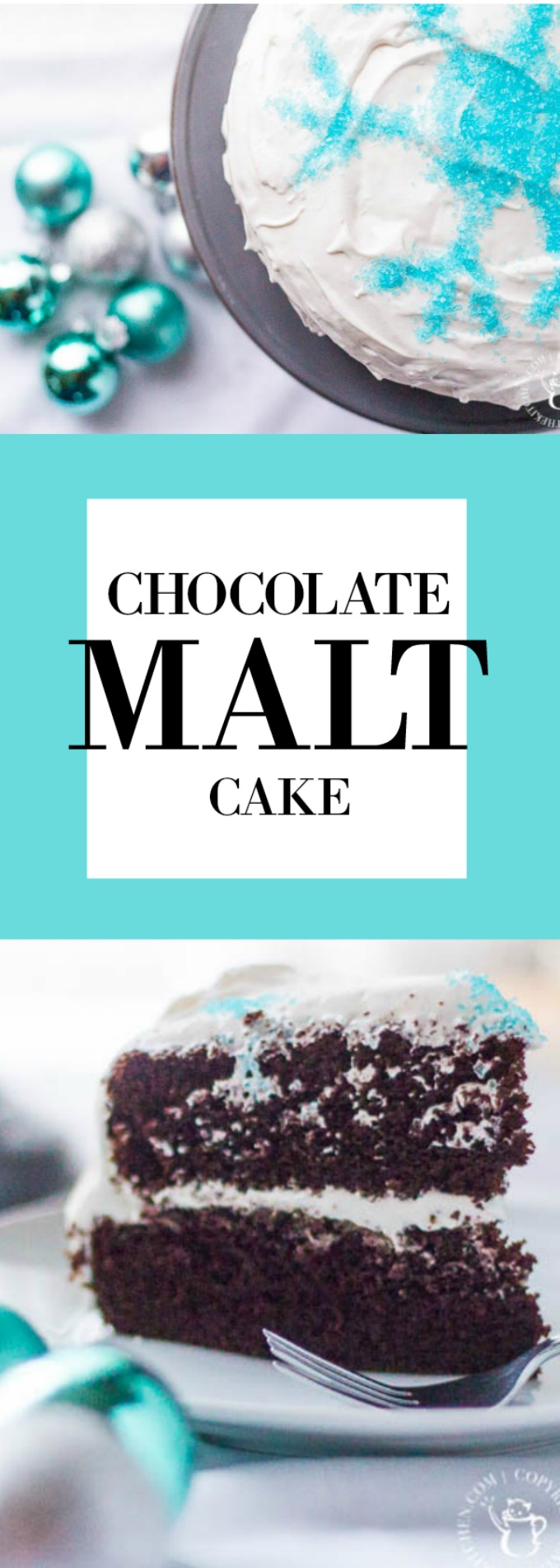It's chocolate cake with a little subtle something extra! Perfect for any birthday or holiday celebration, this chocolate malt cake is delicious!