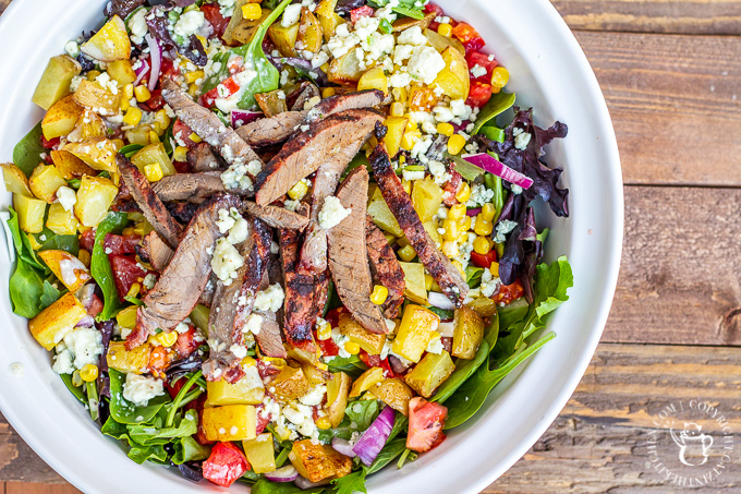 This is not your typical salad. It's got blue cheese. It's got potatoes. It's got steak. If you want a hearty, tasty dinner...cowboy steak salad!
