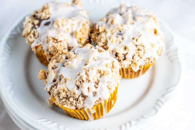 Oregon berries brighten up the inside of these yummy, easy strawberry almond streusel muffins, while streusel & glaze topping adds texture and sweetness!