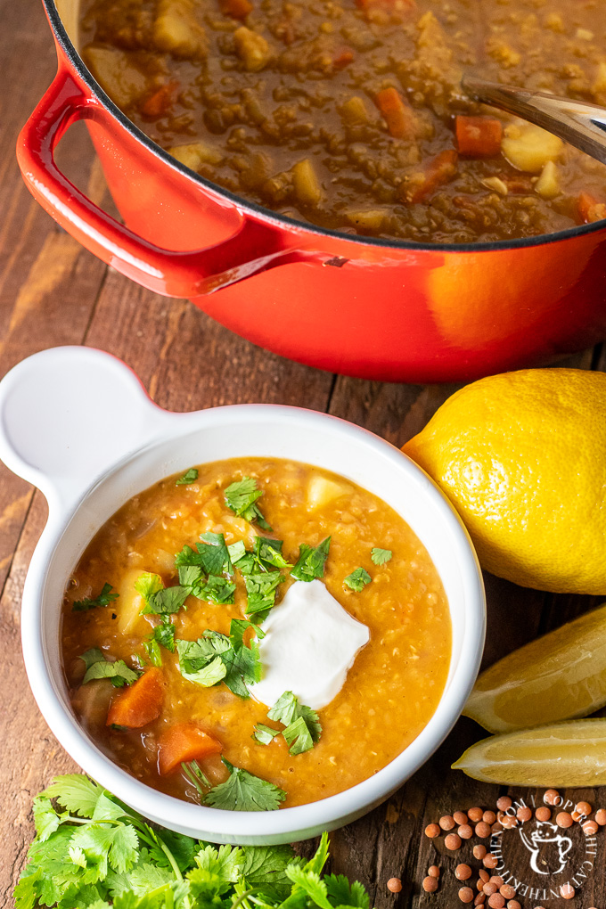 Your pantry can come to your rescue again with this easy, hearty, super tasty, and crazy healthy one pot country lentil soup!