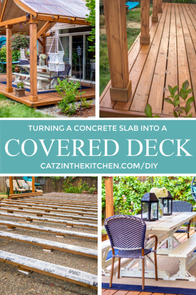 Ever thought about turning your concrete slab into a covered deck? It's definitely doable! Here are some thoughts, tips, & photos from our experience!