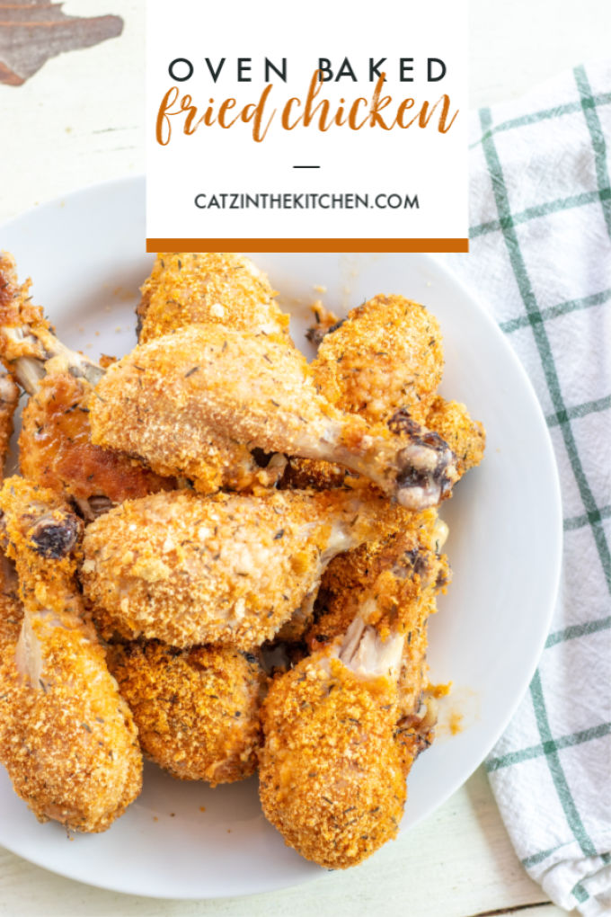 "Got drumsticks in the freezer? Rather with dealing with hot oil and the mess it makes, try this easy, healthier oven baked ""fried"" chicken!"